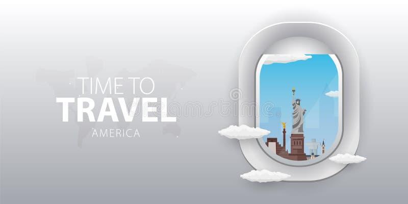 Visión desde el aeroplano Ventana del vuelo américa Bandera plana del vector del web stock de ilustración