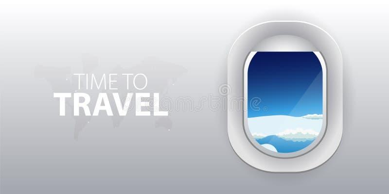 Visión desde el aeroplano Ventana del vuelo con las nubes Bandera plana del vector del web libre illustration