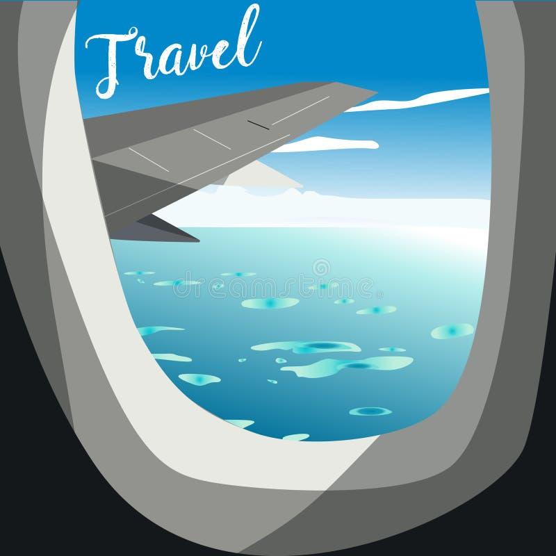 Visión desde el aeroplano Ventana del vuelo Destinos de las vacaciones ilustración del vector
