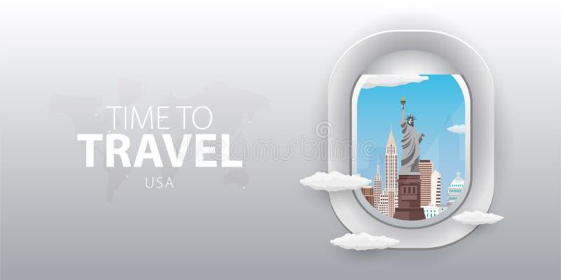 Visión desde el aeroplano Ventana del vuelo EE.UU. Bandera plana del vector del web libre illustration