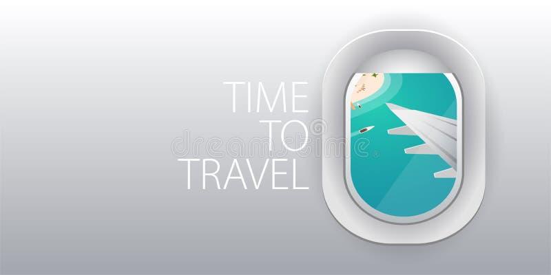 Visión desde el aeroplano Ventana del vuelo Playa tropical Bandera plana del vector del web ilustración del vector