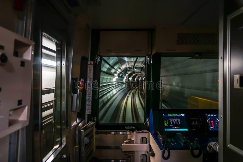 Visión desde el asiento de conductores de Sendai City Subway imagen de archivo libre de regalías