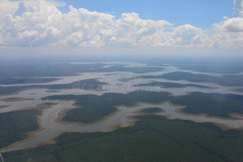 Visión desde el avión en la región de Iguazu en la Argentina imagen de archivo libre de regalías