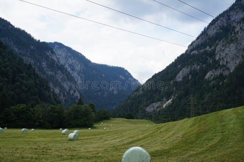 Visión desde el campo verde a las montañas imagenes de archivo
