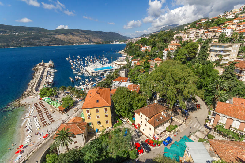 Visión desde el Forte Mare Herceg Novi de la fortaleza fotografía de archivo