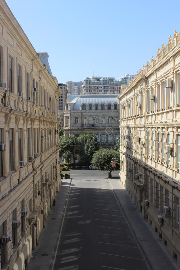 Visión desde el oldtown de Baku fotografía de archivo