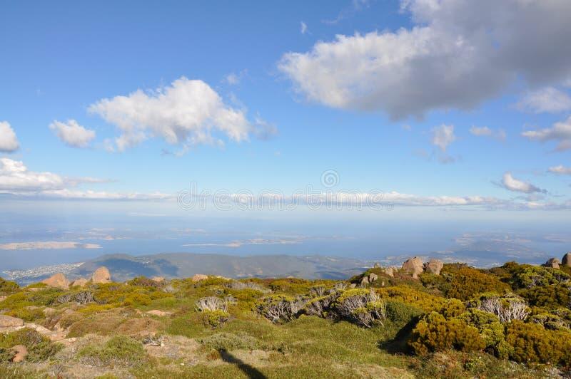 Visión desde el puesto de observación del Mt Wellington. imagen de archivo