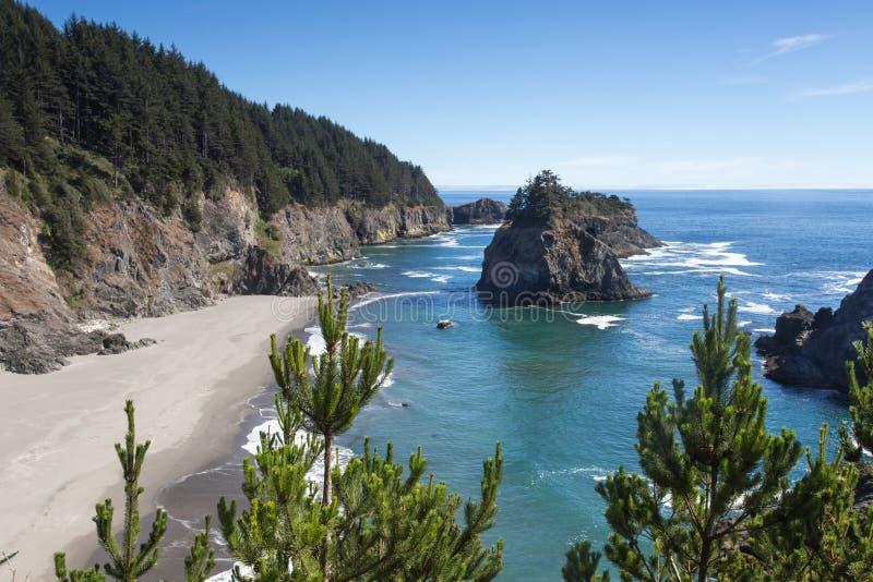 Visión desde el rastro de la roca del arco en Oregon fotografía de archivo