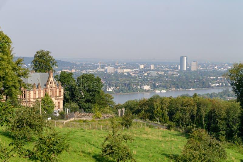 Visión desde el Siebengebirge en dirección de Bonn fotos de archivo libres de regalías