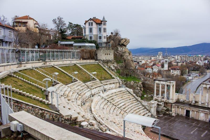 Visión desde el teatro romano de Plovdiv imagen de archivo libre de regalías