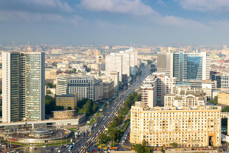 Visión desde el tejado del hotel Ucrania moscú foto de archivo libre de regalías