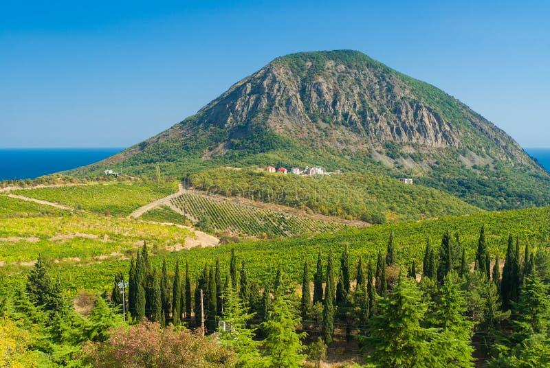 Visión desde encendido sobre una montaña del oso cerca del centro turístico de Gurzuf imagen de archivo libre de regalías