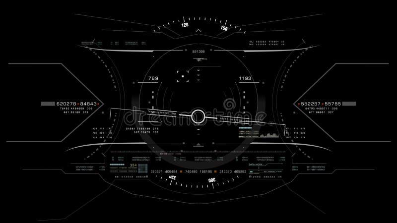 Visión desde la cabeza de la carlinga del avión de combate encima de la exhibición libre illustration