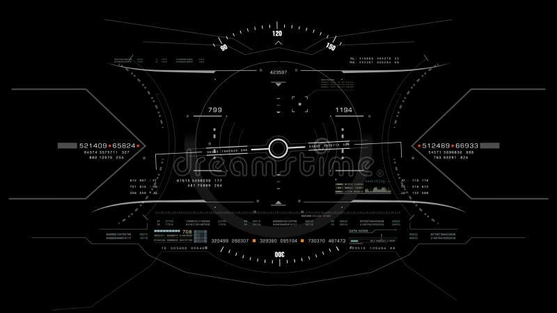 Visión desde la cabeza de la carlinga del avión de combate encima de la exhibición stock de ilustración