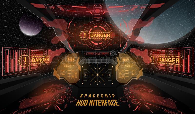 Visión desde la nave espacial de la carlinga Elementos gráficos de la cabeza-para arriba para el interfaz de la nave espacial Pla ilustración del vector