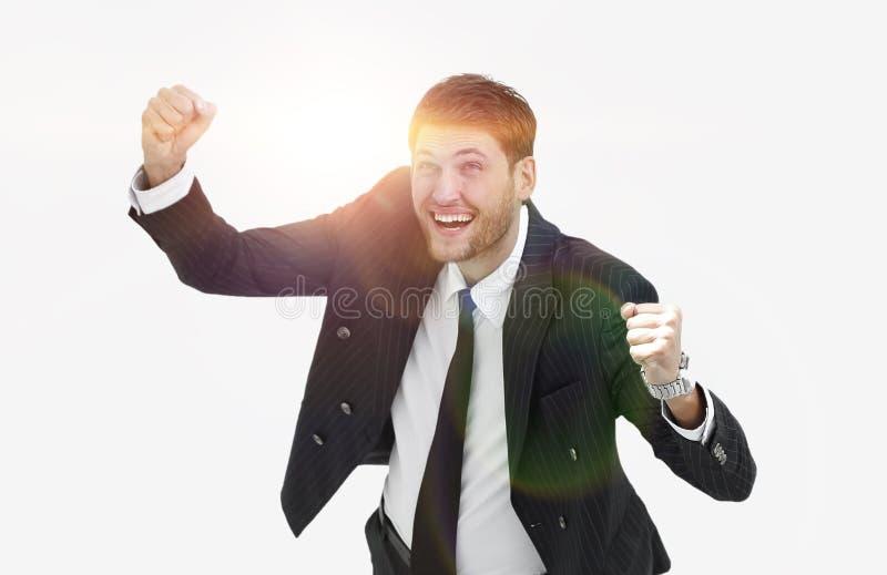 Visión desde la tapa Hombre de negocios feliz que mira la cámara imagen de archivo