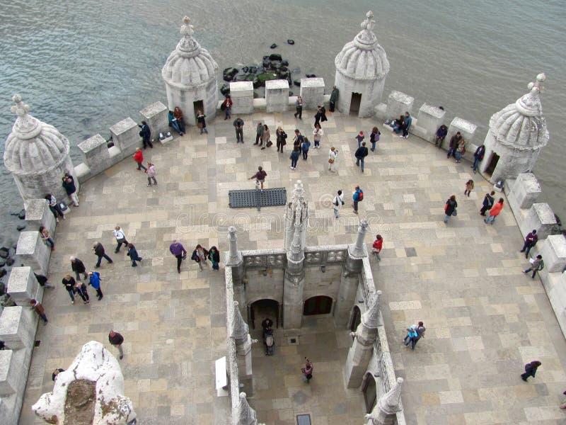 Visión desde la torre de Belem, Torre de Belem situada en Lisboa, Portugal imagen de archivo