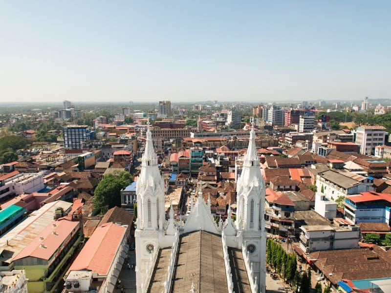 Visión desde la torre de la biblia en la ciudad de Thrissur imagen de archivo