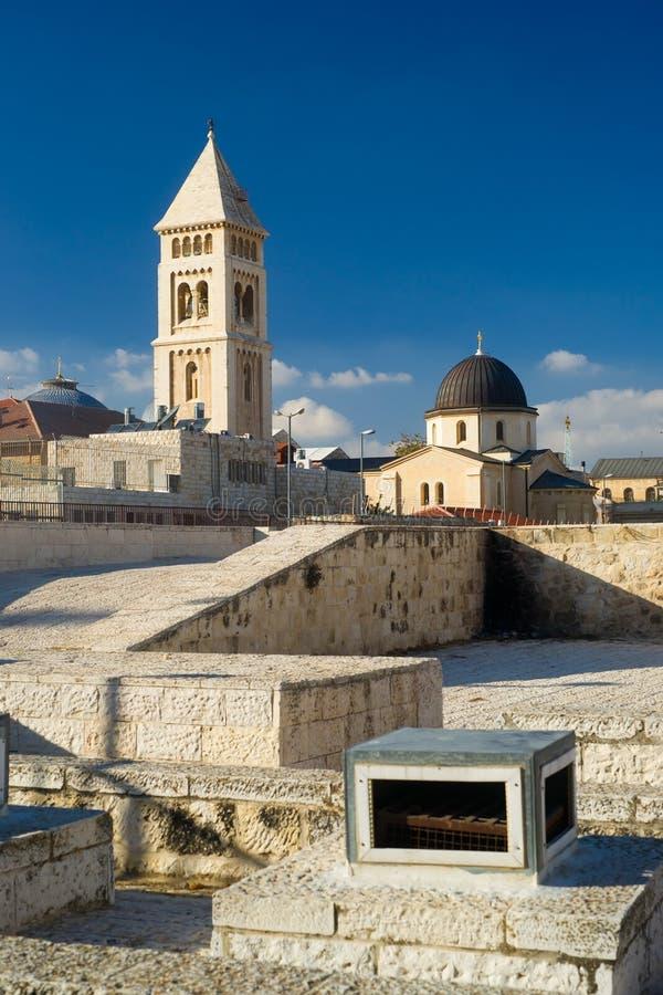 Visión desde la una de las azoteas en Jerusalén imágenes de archivo libres de regalías