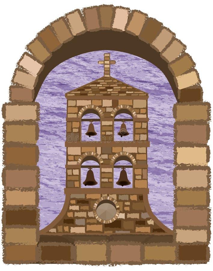 Visión desde la ventana arqueada de la iglesia medieval antigua en estilo del romanesque stock de ilustración