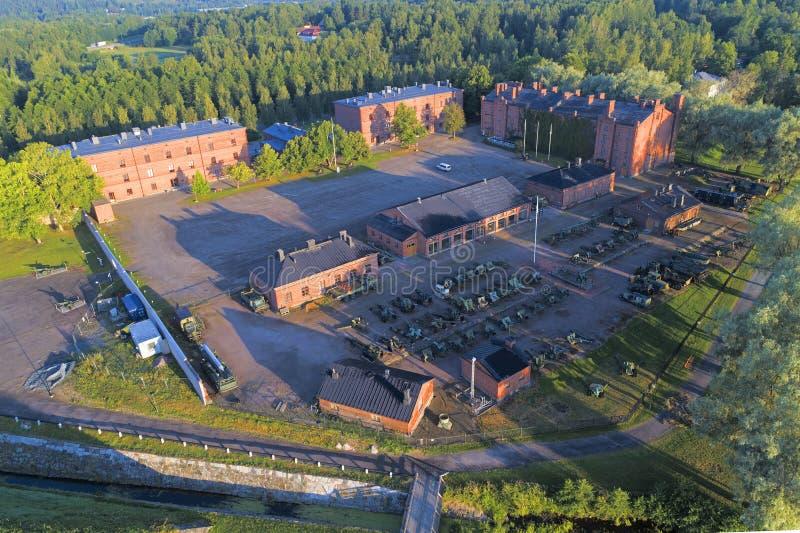Visión desde las alturas del museo Museo Militaria de la artillería en la ciudad de Hameenlinna fotografía de archivo libre de regalías