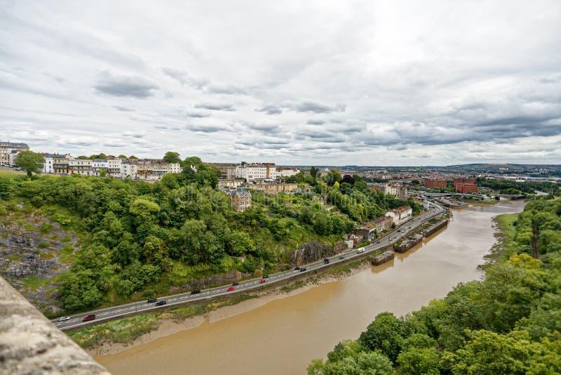 Visión desde puente colgante del clifton hacia el centro de Bristol fotos de archivo libres de regalías