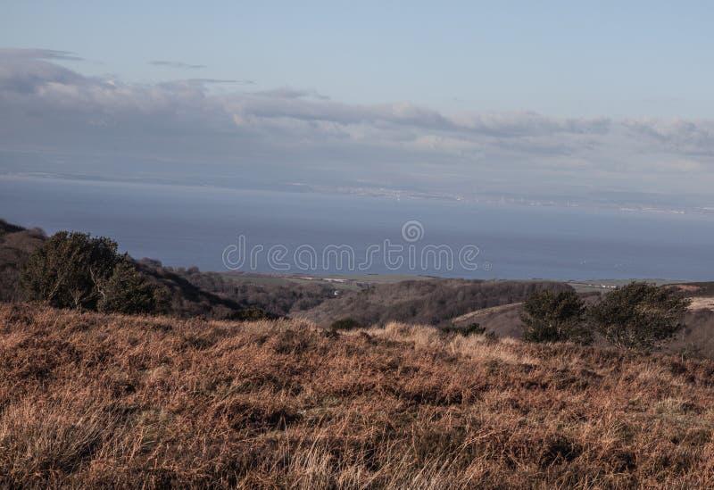Visión desde Quantocks a través del estuario a País de Gales, foto de archivo libre de regalías