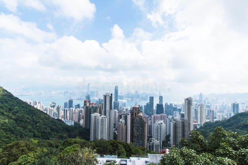 Visión desde Victoria Peak del horizonte de la ciudad de Hong Kong fotos de archivo libres de regalías