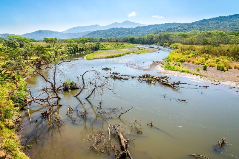 Visión en el río Tarcoles del puente del cocodrilo en Costa Rica foto de archivo libre de regalías