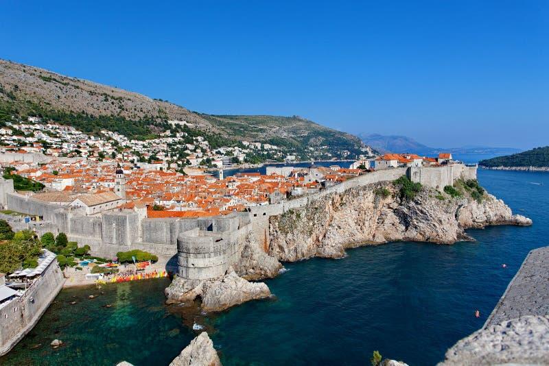 Visión en la ciudad vieja de Dubrovnik del fuerte Lovrijenac, Dubrovnik, Croacia fotografía de archivo libre de regalías