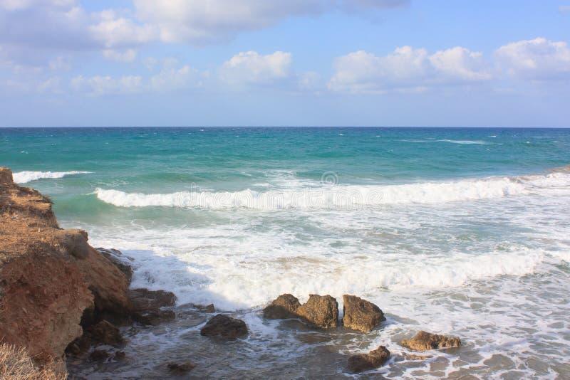 Visión en la playa cerca Heraklion en Creta foto de archivo libre de regalías