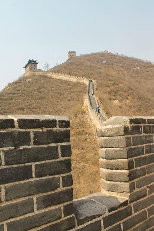 Visión encima de la Gran Muralla en invierno imágenes de archivo libres de regalías