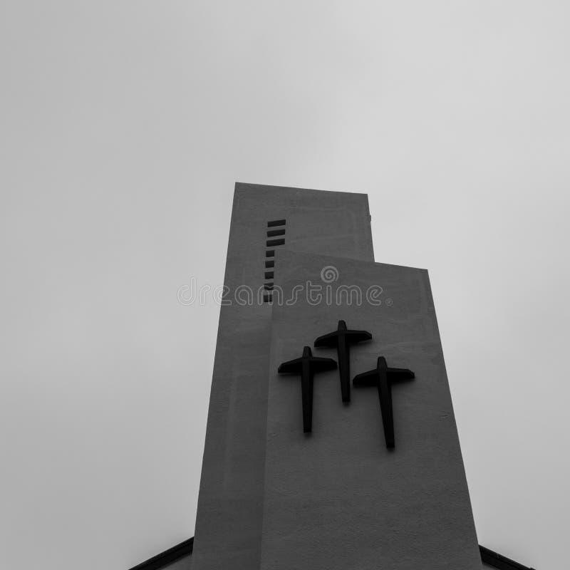 Visión encima del tejado de la catedral católica de Jungang Jung-gu, Busán, Corea del Sur asia imágenes de archivo libres de regalías