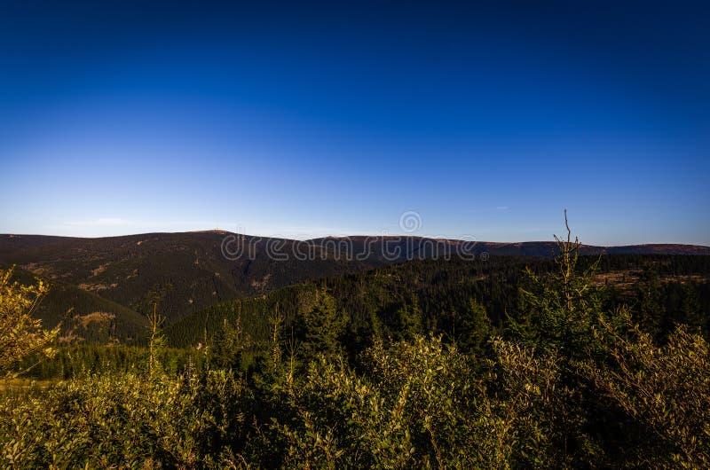 Visión escénica con el bosque verde y el cielo azul marino del depósito superior del strane de Dlouhe a la montaña Praded fotografía de archivo