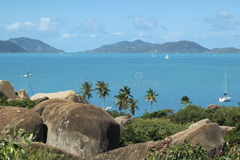 Visión escénica con las piedras del granito, las palmeras y agua de azules turquesa grandes, Tortola, islas caribeñas fotografía de archivo
