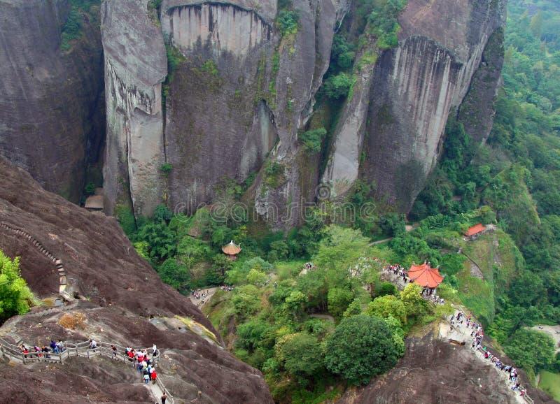 Visión escénica desde el top del pico de montañas de Wuyi, Fujian fotografía de archivo libre de regalías