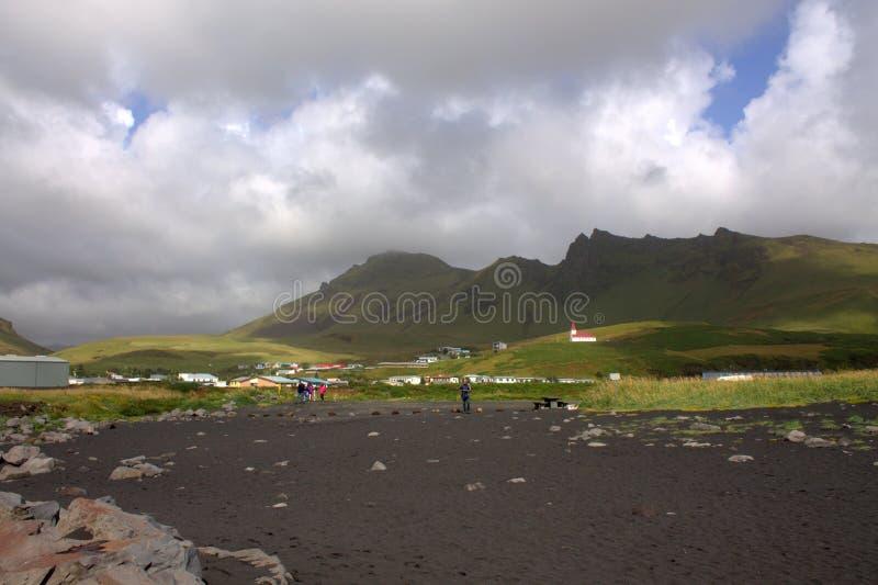 Visión general en VIk y Myrdal en la orilla del sur de Islandia fotografía de archivo libre de regalías