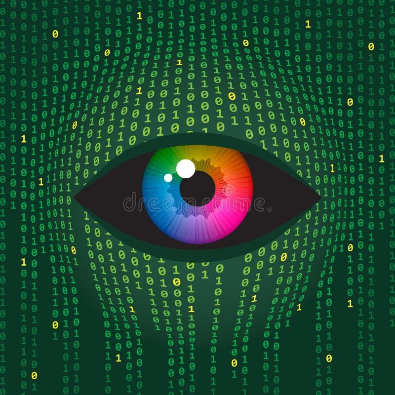 Visión humana y tecnologías digitales stock de ilustración