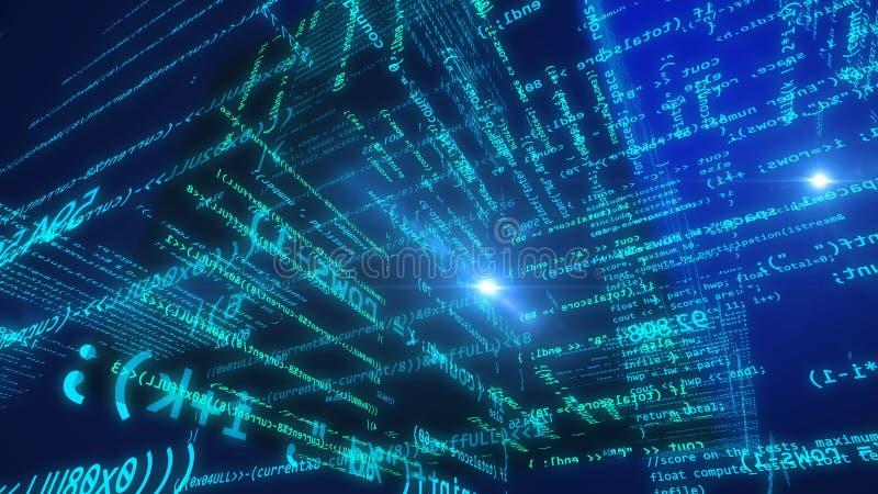Visión innovadora del ciberespacio con el cubo dentro stock de ilustración