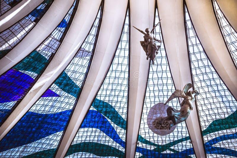 Visión interior desde el techo de catedral de Brasilia imágenes de archivo libres de regalías
