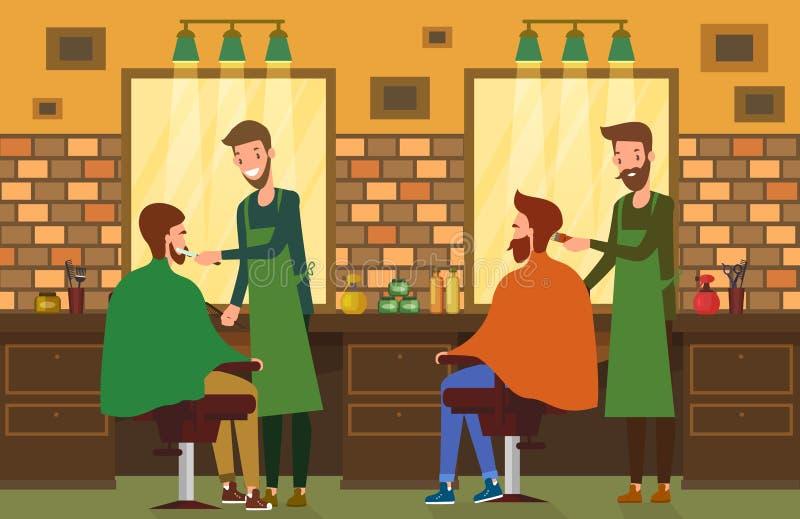 Visión interior en el salón de la barbería con el peluquero stock de ilustración
