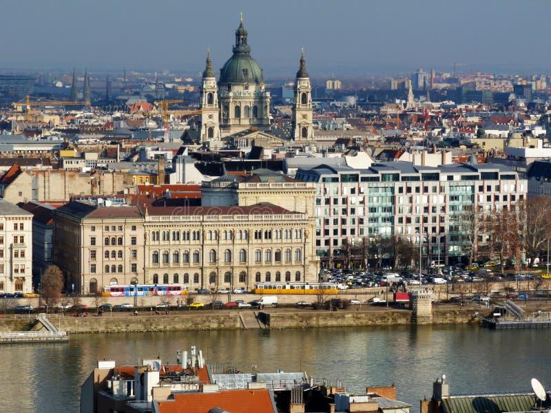 Visión panorámica Budapest, Hungría con la basílica fotografía de archivo libre de regalías