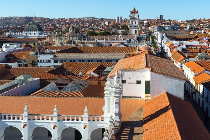 Visión panorámica desde el tejado de San Felipe de Neri Monastery, Sucre, Bolivia imagen de archivo libre de regalías