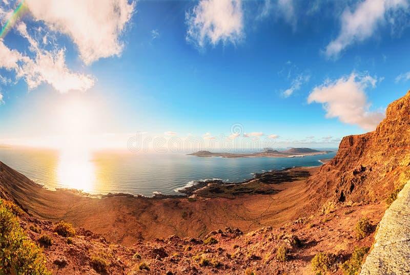 Visión panorámica desde Lanzarote imagenes de archivo