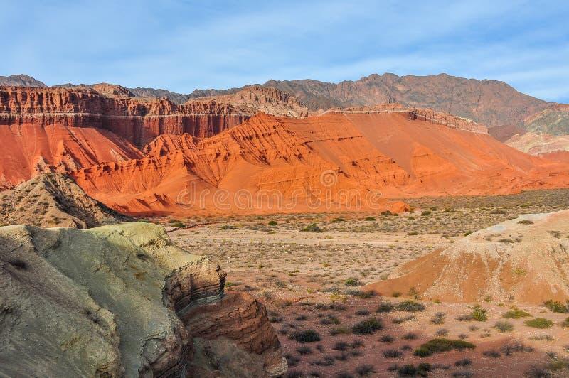 Visión panorámica en el Quebrada de las Conchas, la Argentina imagen de archivo