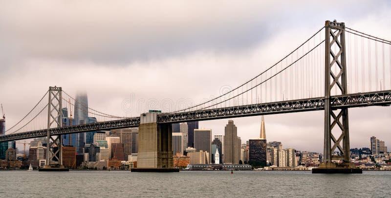 Visión panorámica larga San Francisco Ferry Terminal City Skyline imagenes de archivo