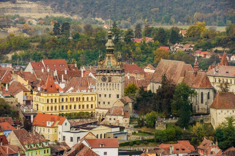 Visión panorámica sobre la ciudad de Sighisoara, Rumania imagen de archivo libre de regalías