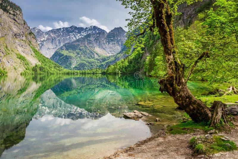 Visión para el lago verde de la montaña en las montañas alemanas fotografía de archivo