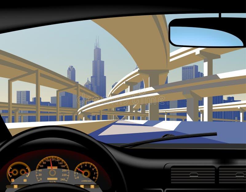 Visión por dentro del coche en el skylin del paso superior y de la ciudad de la carretera stock de ilustración