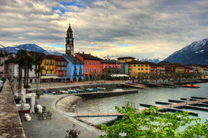 Visión sobre Ascona en Suiza imágenes de archivo libres de regalías